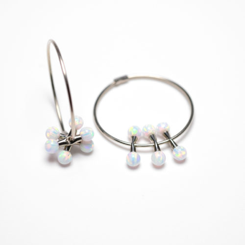 Hoops in white gold with white opals