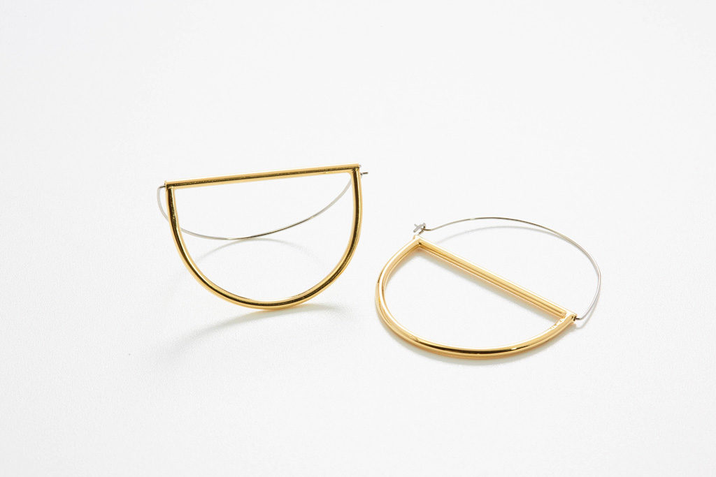 Circles hoops large in silver gold plated