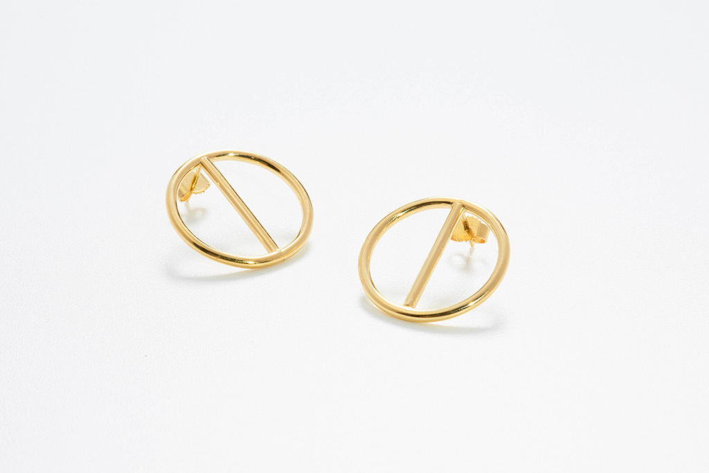 goldene Ohrstecker Circles poliert
