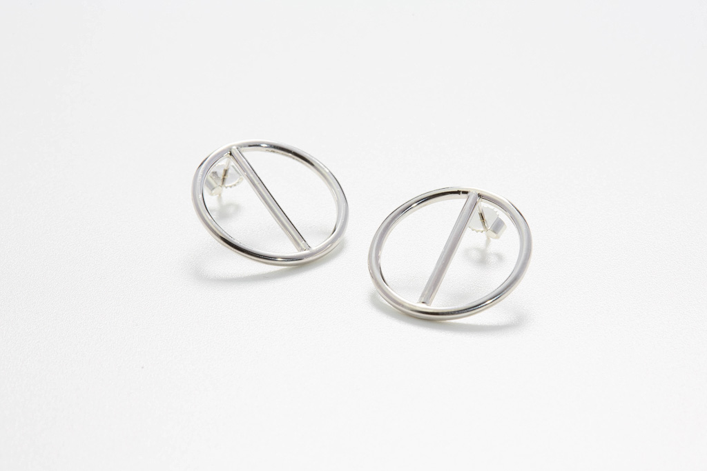 Stud earring circles silver polished